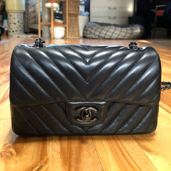 72e0ddd1412eff CHANEL Bags | So Black Chevron Mini Classic Flap Rare | Poshmark